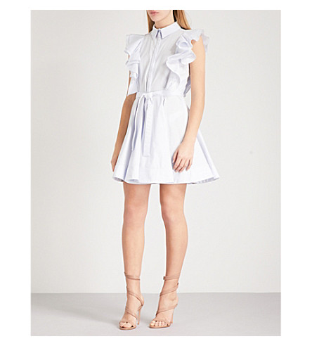 ANTONIO BERARDI Mariella ruffle-detail stretch-cotton dress (Light+blue