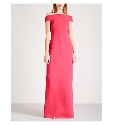 ANTONIO BERARDI Mauela off-the-shoulder crepe gown (Bright+pink