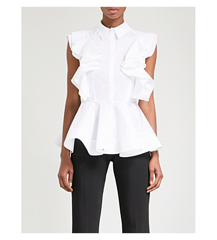ANTONIO BERARDI Ruffled stretch-cotton blouse (White