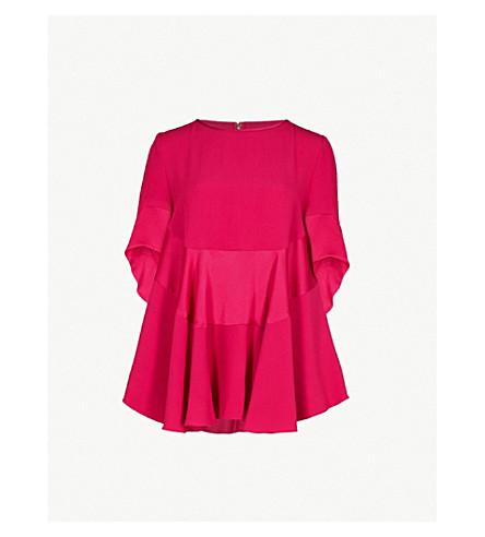 ANTONIO BERARDI Mandolino ruffled crepe top (Bright pink
