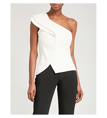 ANTONIO BERARDI Asymmetric crepe top (Open+white