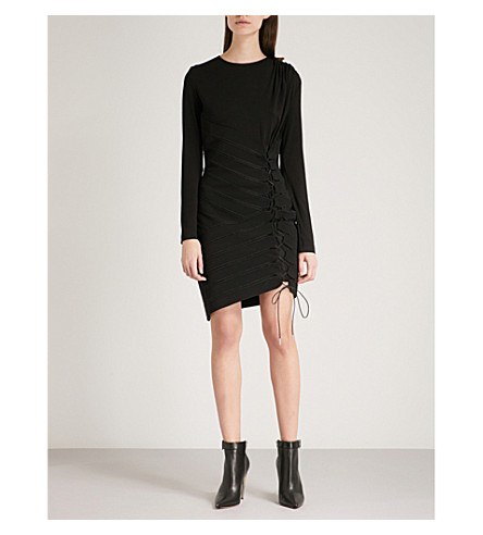 ANTONIO BERARDI Moon woven and jersey dress (Black