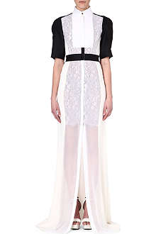ANTONIO BERARDI Contrast-detailed lace and chiffon gown