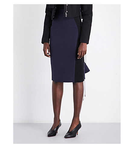 ANTONIO BERARDI Mesh-panel fitted high-rise cotton skirt (Nero/blu
