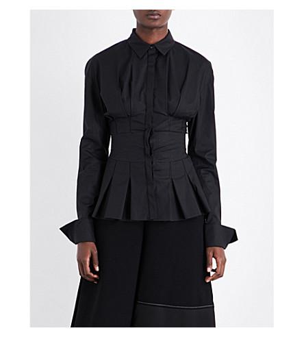 ANTONIO BERARDI Pleated stretch-cotton shirt (Nero