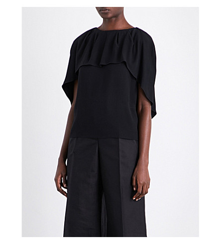 ANTONIO BERARDI Cape-panel crepe shirt (Nero