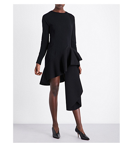 ANTONIO BERARDI Asymmetric ruffled woven dress (Nero