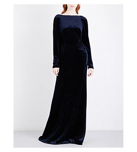 ANTONIO BERARDI Draped-back panel velvet gown (Navy