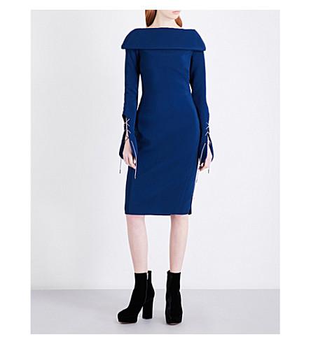 ANTONIO BERARDI Lace-up crepe dress (Blu+chiaro