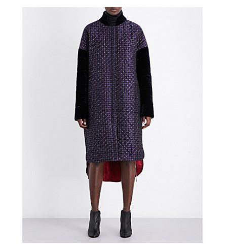 ANTONIO BERARDI Quilted floral jacquard coat (Navy