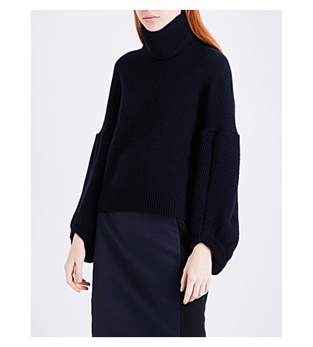 ANTONIO BERARDI Button-back wool and cashmere-blend jumper (Navy