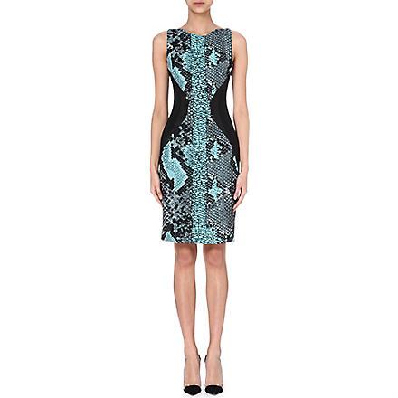 ANTONIO BERARDI Snakeskin-print jersey dress (Grn / blk