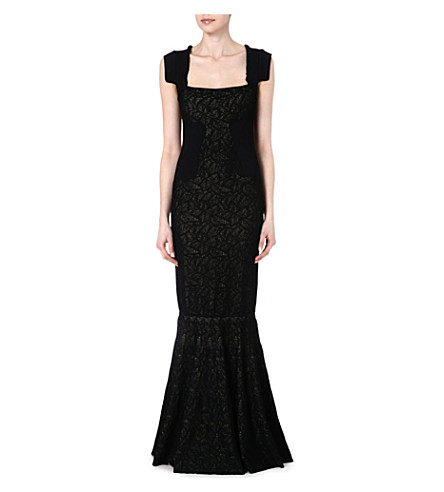 ANTONIO BERARDI Lace panel evening dress (Blk