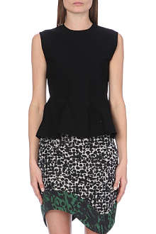 ANTONIO BERARDI Peplum-detail stretch-knit top