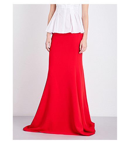ANTONIO BERARDI Trumpet woven maxi skirt (Red