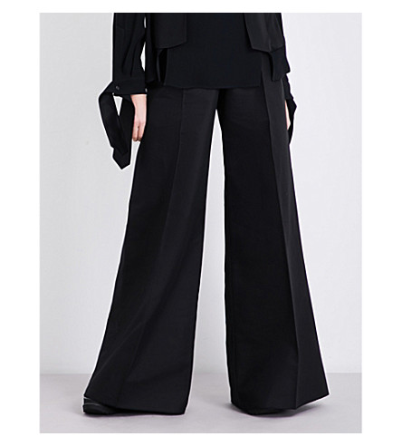 ANTONIO BERARDI Wide-leg cotton and wool-blend trousers (Nero