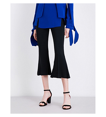 ANTONIO BERARDI Flared stretch-crepe trousers (Nero