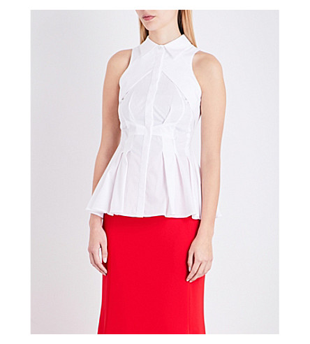 ANTONIO BERARDI Peplum cotton-poplin blouse (White