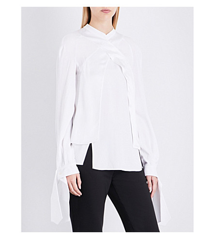 ANTONIO BERARDI Asymmetric crepe-satin blouse (White