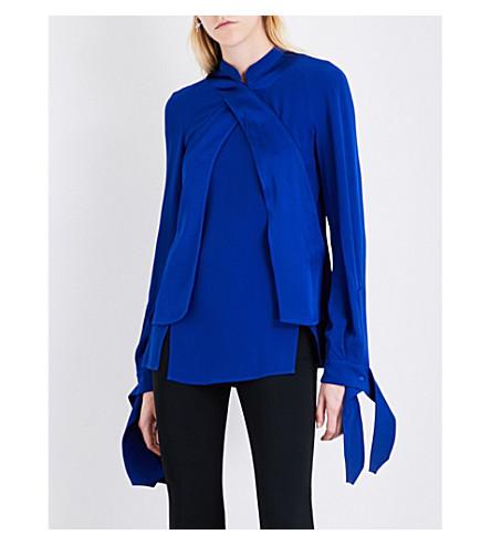 ANTONIO BERARDI Satin-panel crepe shirt (Blu+elettrico
