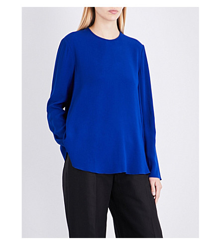 ANTONIO BERARDI Loose-fit crepe-satin blouse (Electric+blue
