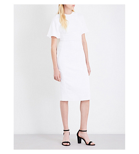 ANTONIO BERARDI Cape-overlay crepe midi dress (White