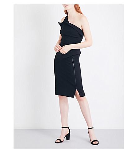 ANTONIO BERARDI Asymmetric stretch-crepe dress (Nero