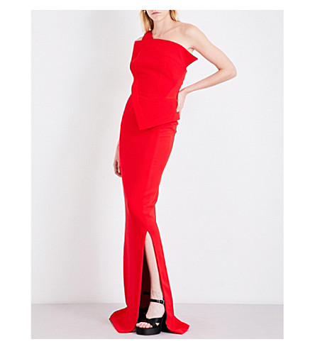 ANTONIO BERARDI Asymmetric wool-crepe gown (Red