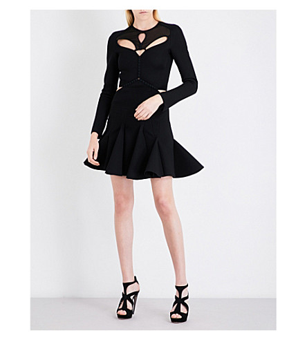 ANTONIO BERARDI Cutout peplum ponte-jersey dress (Nero