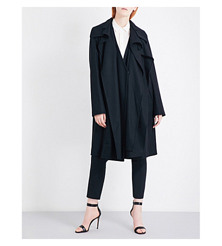 ANTONIO BERARDI Oversized virgin wool-blend coat (Nero