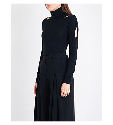 ANTONIO BERARDI Turtleneck cutout wool and silk-blend jumper (Nero