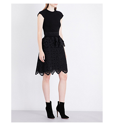 ANTONIO BERARDI Lace-detailed embroidered dress (Nero