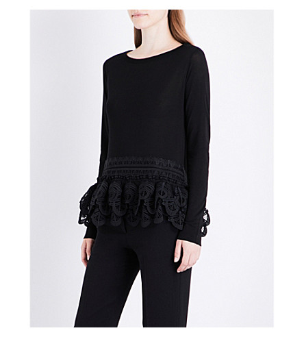 ANTONIO BERARDI Lace-detailed embroidered top (Nero