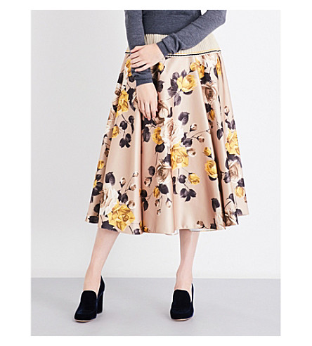 ROCHAS Roses-print satin skirt (Medium+biege