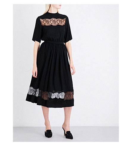 ROCHAS Floral lace-trim georgette midi dress (Black