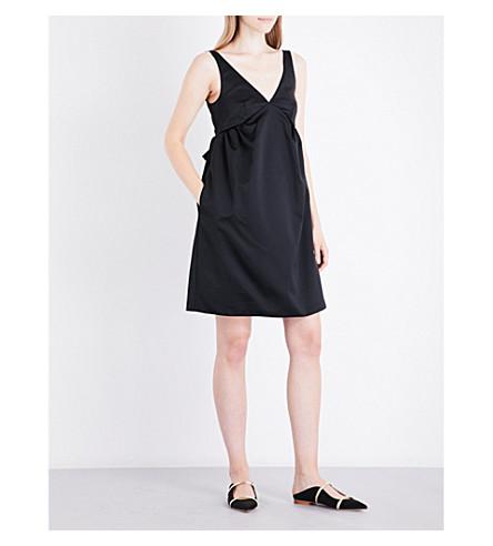 ROCHAS Bow-detail silk-satin dress (Black