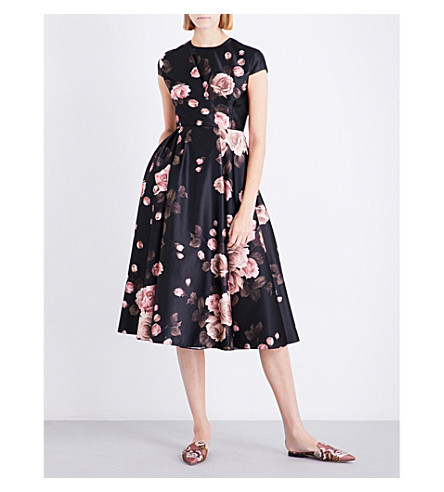 ROCHAS Rose-print satin dress (Black