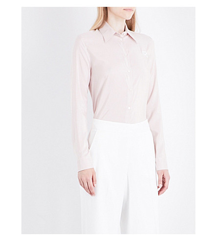 ROCHAS Striped silk shirt (Ligth+beige