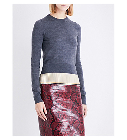 ROCHAS Contrast-pleat waffle-knit wool jumper (Medium+grey