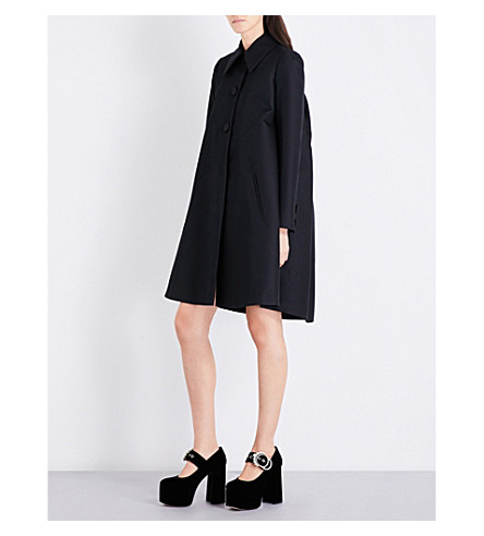 ROCHAS Puff-shoulder ruched wool and silk-blend coat (Black