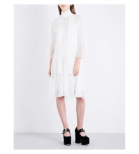 ROCHAS Neck tie silk-chiffon midi dress (Natural