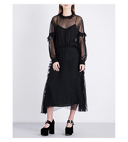ROCHAS Ruffled silk-chiffon midi dress (Black