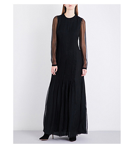 ROCHAS Sheer-sleeve silk-georgette gown (Black