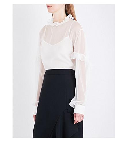 ROCHAS Ruffle-collar silk-chiffon blouse (Natural