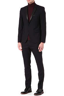 HUGO Leather lapel wool-blend suit