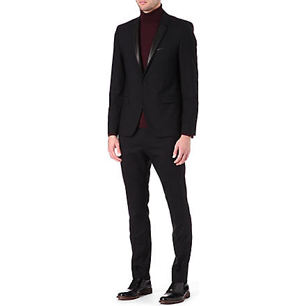 HUGO Leather lapel wool-blend suit (Black