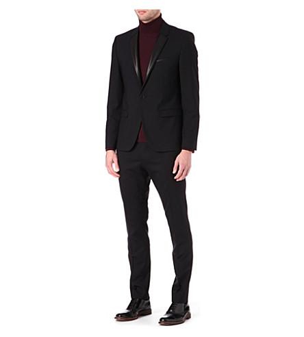 HUGO Leather lapel wool-blend suit (Black