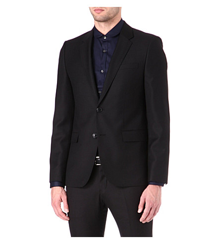 HUGO Single-breasted wool jacket (Black