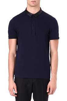HUGO Faux-leather trim polo shirt