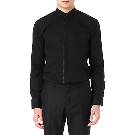 HUGO Faux leather placket shirt (Black
